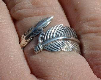 Sterling Silver Feather Ring, Navajo Joe Delgarito