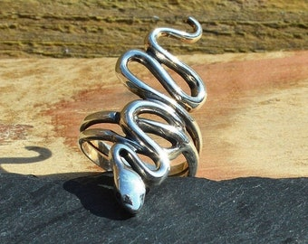 Large Sterling Silver Snake Ring