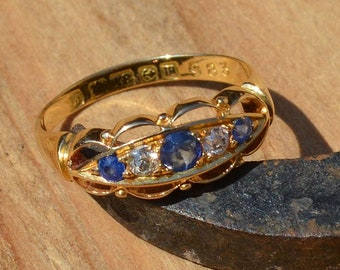 18ct Gold Sapphire and Diamond Ring, Antique