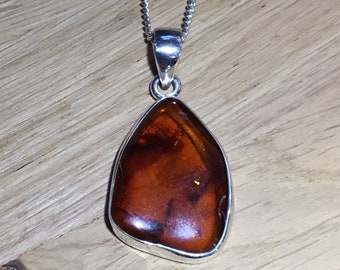 Handmade Silver and Baltic Amber Pendant
