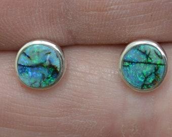 Handmade Round Silver Boulder Opal Stud Earrings