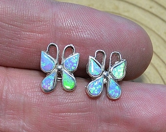 Silver Opal Butterfly Earrings