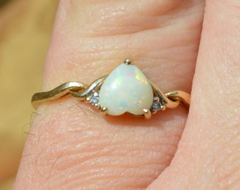 Vintage 9ct Gold Opal and Diamond Heart Ring