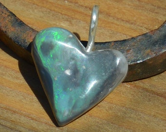 Silver and Black Opal Heart Pendant, Lightning Ridge Opal