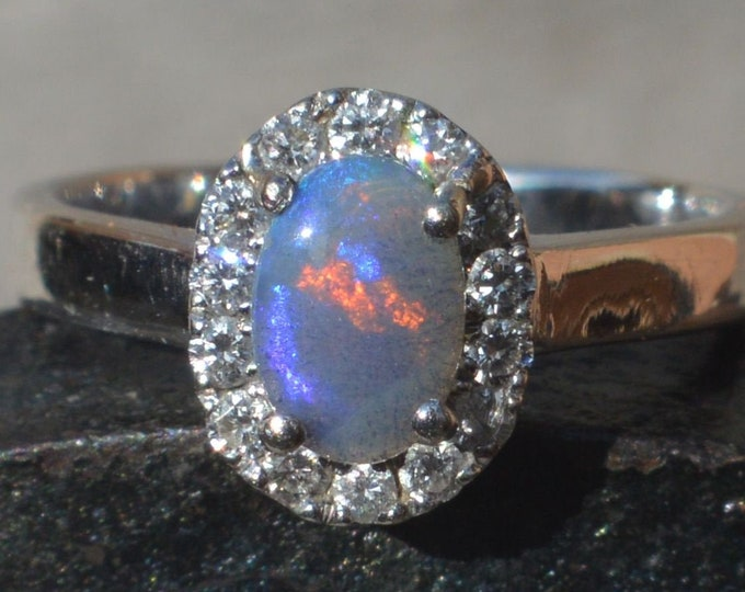 Featured listing image: 18ct White Gold Australian Black Opal Crystal and Diamond Halo Ring, Lightning Ridge