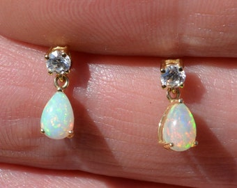 9ct Gold Opal Teardrop Earrings, Cz's