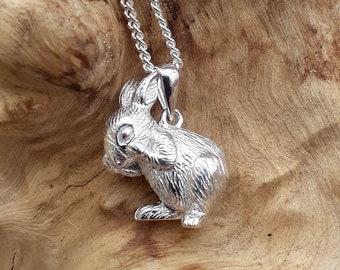 Silver 3D Rabbit Pendant