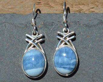 Silver Blue Agate Drop Earrings, Oval Agate