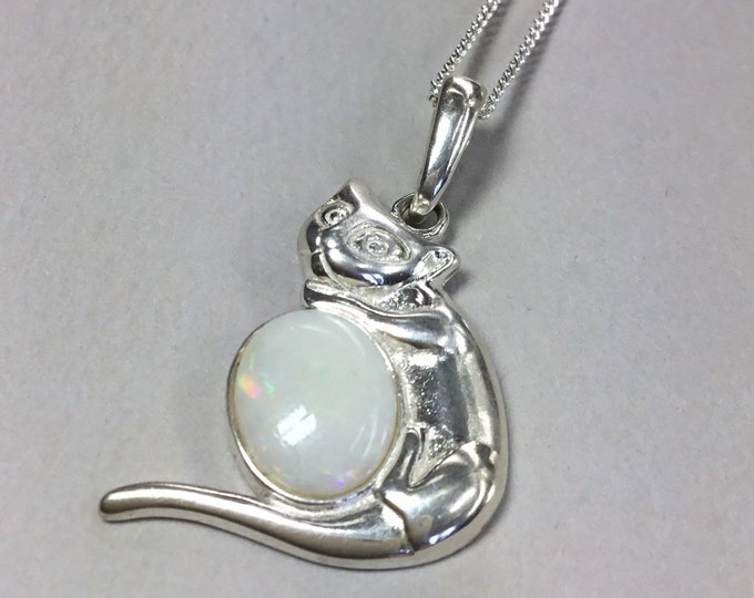 Sterling Silver Opal Cat Pendant and Chain