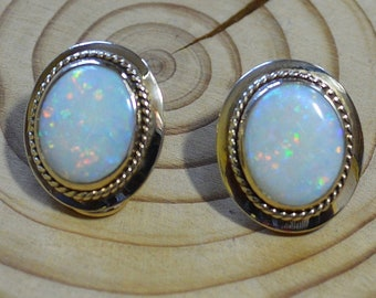 Large 9ct Gold Opal Clip on Earrings, Gold and Genuine Opal Clip Earrings