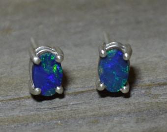 Silver and Australian Opal Doublet Earrings, Oval Blue/Green Opals