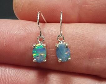 Oval Australian Opal Drop Earrings, Blue Opal Doublets