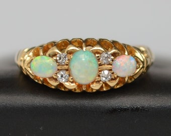 Antique 18ct Gold Opal and Diamond Ring, Australian Opal Pinky Ring