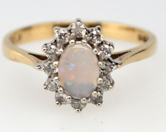 9ct Gold Australian Opal and Diamond Halo Ring, Vintage Opal Ring