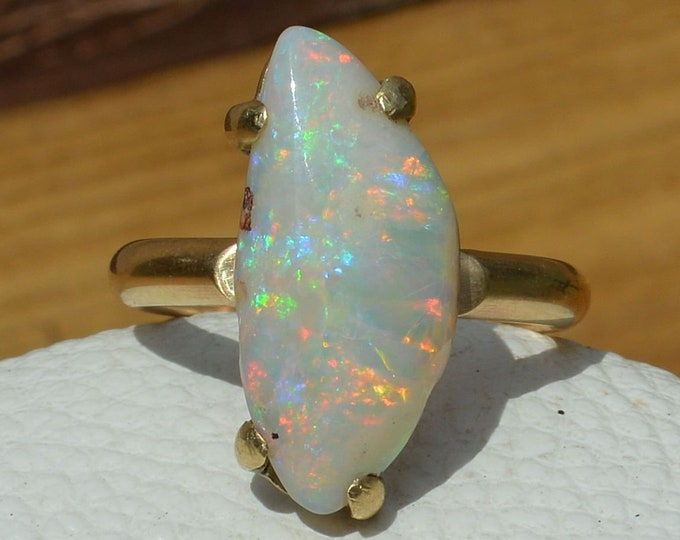 Featured listing image: Large 9ct Gold Australian Opal Ring, Unique