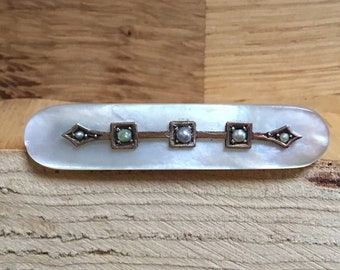 9ct Mother Of Pearl and Seed Pearl Brooch, Antique