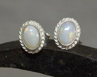 Silver and Oval Opal Stud Earrings