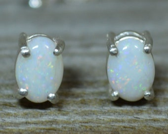Australian Opal Silver Stud Earrings, Oval Claw Set Opals