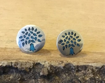 Sterling Silver Turquoise Tree of Life Stud Earrings