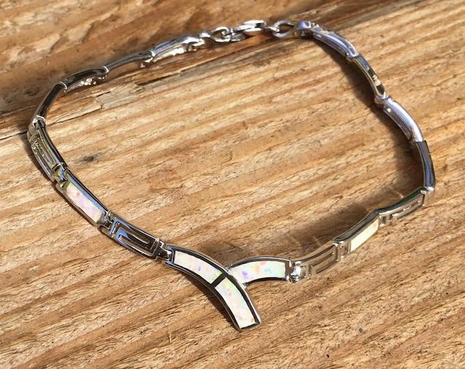 Sterling Silver Lab Opal Bracelet, White