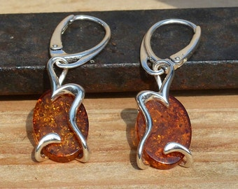 Oval Silver and Baltic Amber Earrings