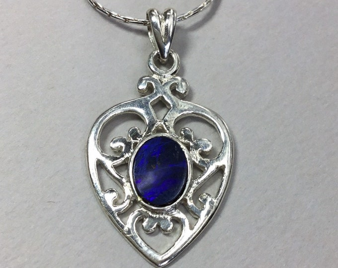 Blue Opal Heart Pendant Silver