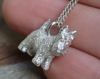 Solid Silver Scottie Dog Pendant