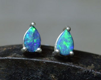 Teardrop Silver Australian Opal Stud Earrings, Opal Doublets