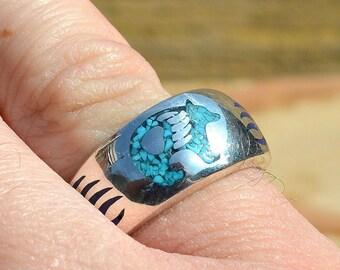 Kingman Turquoise and Lapis Bear Ring