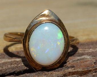 Vintage 9ct Gold Opal Ring, Australian Opal
