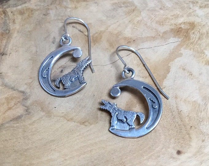 Sterling Silver Wolf in Moon Drop Earrings