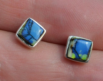 Silver Square Boulder Opal Stud Earrings, Blue Opal Stud Earrings