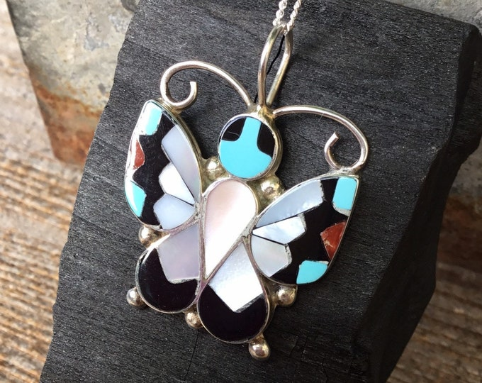 Zuni Butterfly, Turquoise, Mother of Pearl, Onyx and Coral Pendant, Signed A Dishta