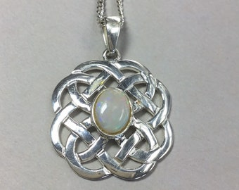 Sterling Silver Opal Pendant and Chain, Celtic