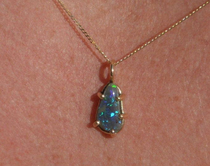 Featured listing image: 9ct Gold Australian Black Opal Crystal Pendant, Teardrop 0.98 Carats