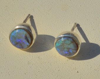 Round Silver Boulder Opal Earrings, Handmade