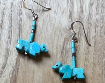 Zuni Fetish Bear Earrings, Turquoise Earrings