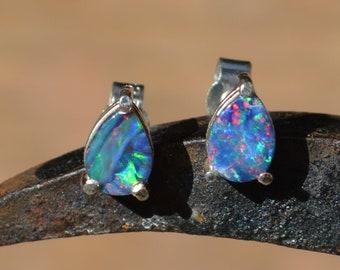 Silver Australian Opal Doublet Teardrop Stud Earrings