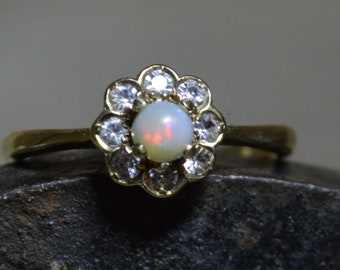 Vintage 9ct Gold Opal and Cz Ring, Dainty Australian Opal