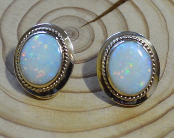 Large Gold Opal Clip on Earrings, non pierced ears