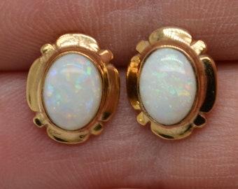 9ct Gold Opal Stud Earrings, Australian Opal