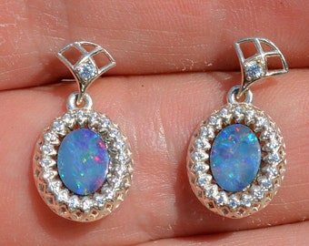 Silver and Australian Opal Doublet Earrings With Cz's