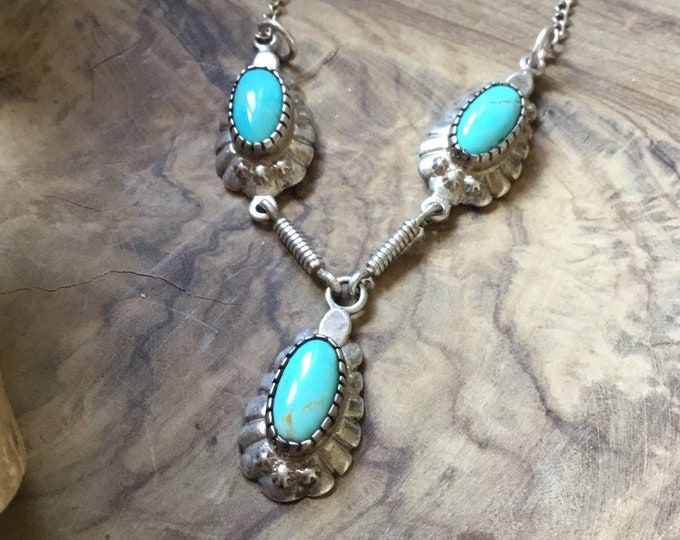 Silver Turquoise Necklace, Silver and Turquoise