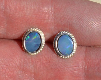 Silver and Opal Doublet Rope Edge Earrings