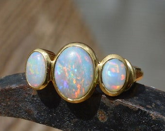 18ct Gold Australian Opal Ring, Handmade Solid Ring