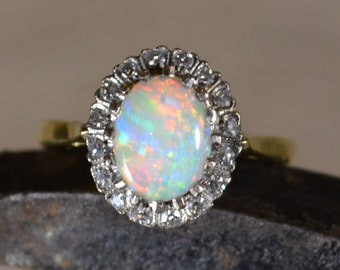 18ct Gold Opal and Diamond Cluster Ring, Vintage Australian Opal