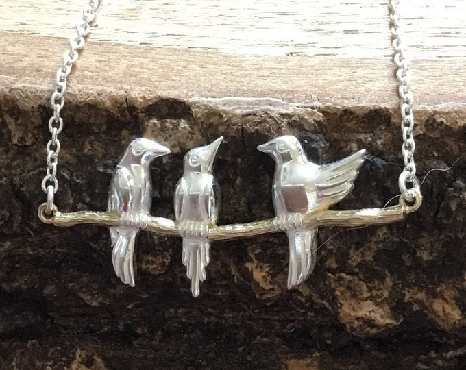 Silver and Gold Bird Necklace