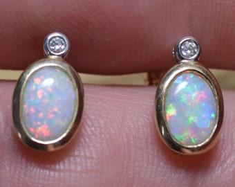 Handmade Gold Australian Opal Diamond Studs