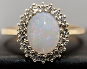 9ct Gold Australian Opal and Diamond Ring, Large Oval Cluster Ring