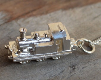 Solid Silver Steam Engine Pendant